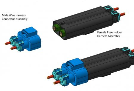 HPLB-Mini 2-Way Sealed Axial Connector and integrated, serviceable fuse