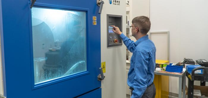 Royal Power Solutions Test Lab Temperature Chamber, Larry Brooks Lab Director